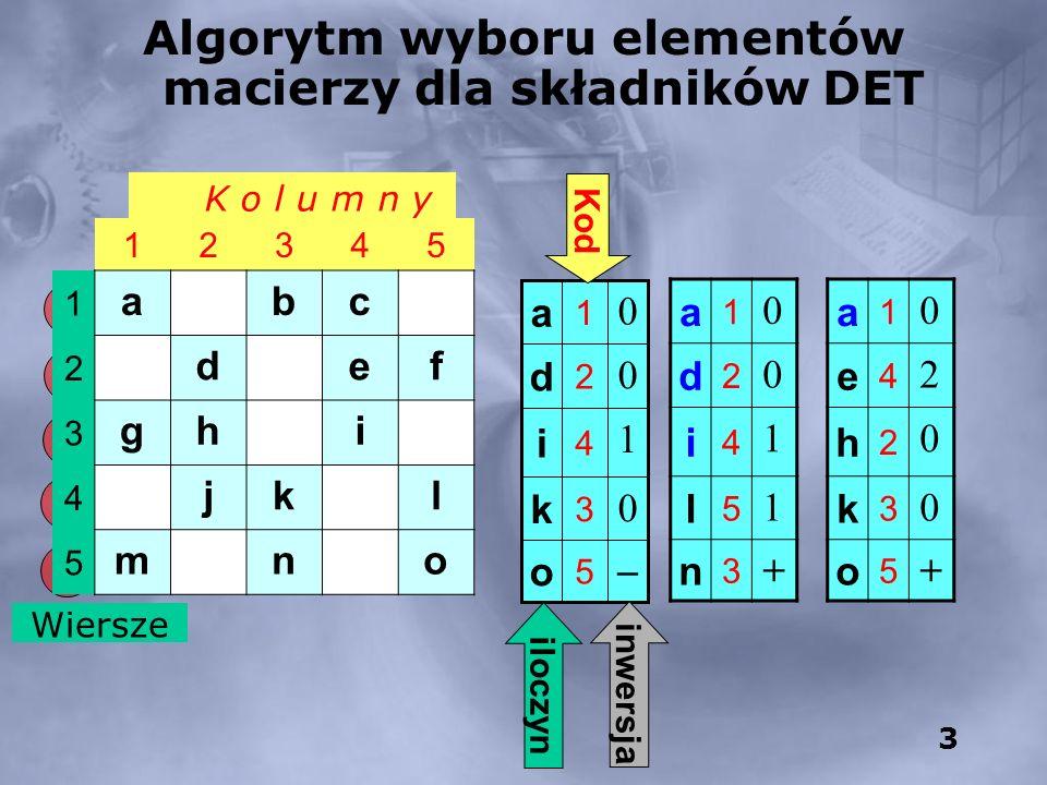Algorytm wyboru elementów macierzy dla składników DET