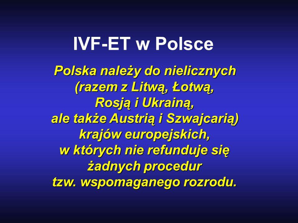 IVF-ET w Polsce Polska należy do nielicznych (razem z Litwą, Łotwą,