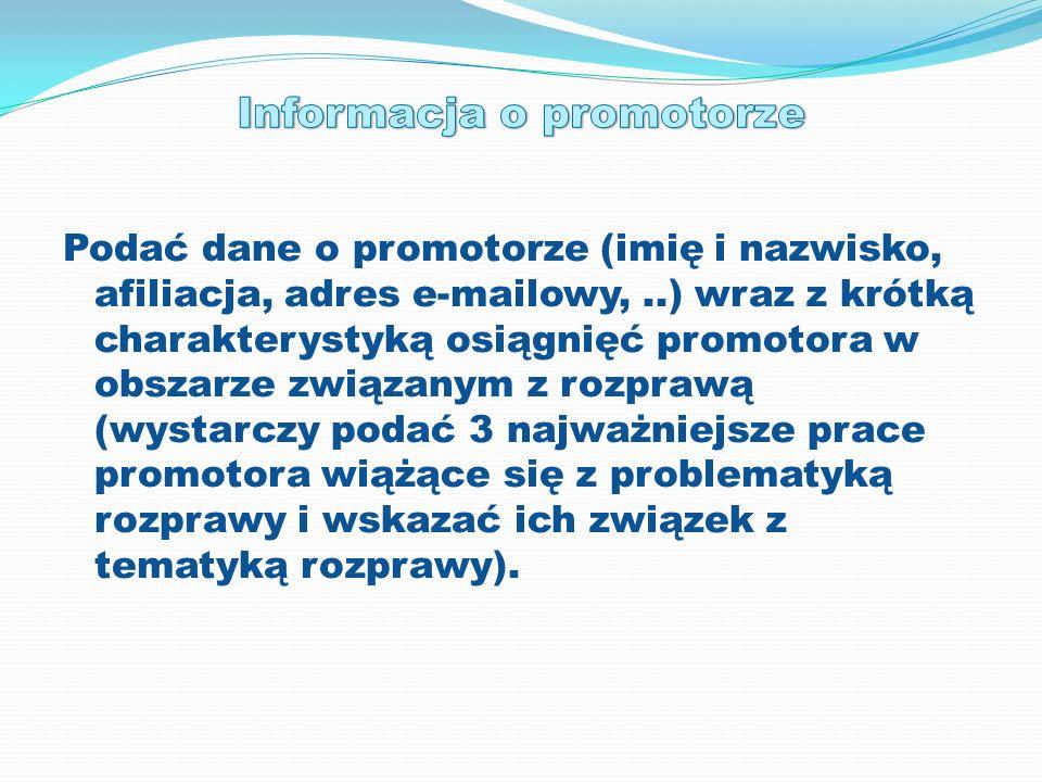 Informacja o promotorze