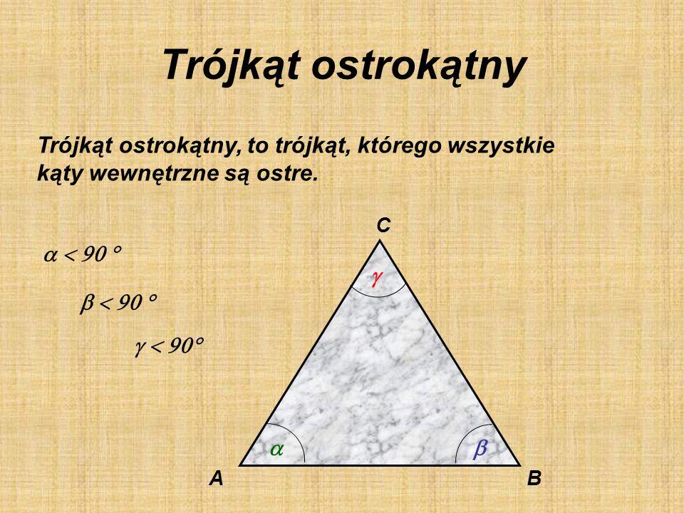 Trójkąt ostrokątny Trójkąt ostrokątny, to trójkąt, którego wszystkie
