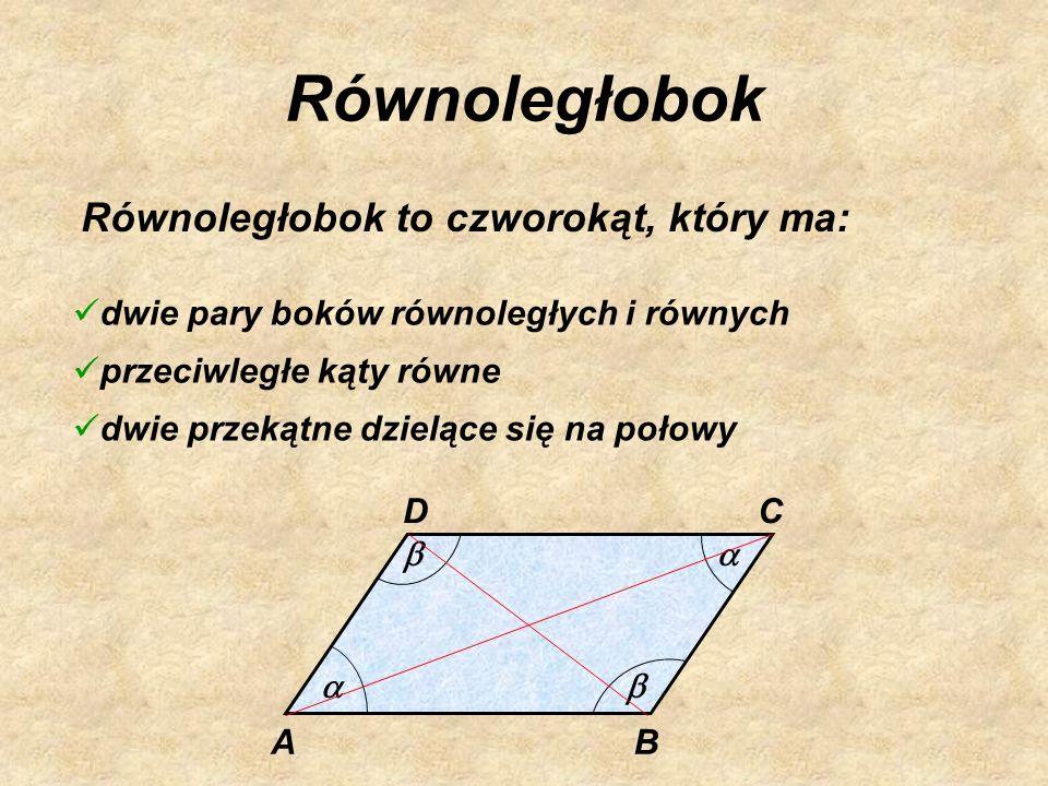 Równoległobok Równoległobok to czworokąt, który ma: