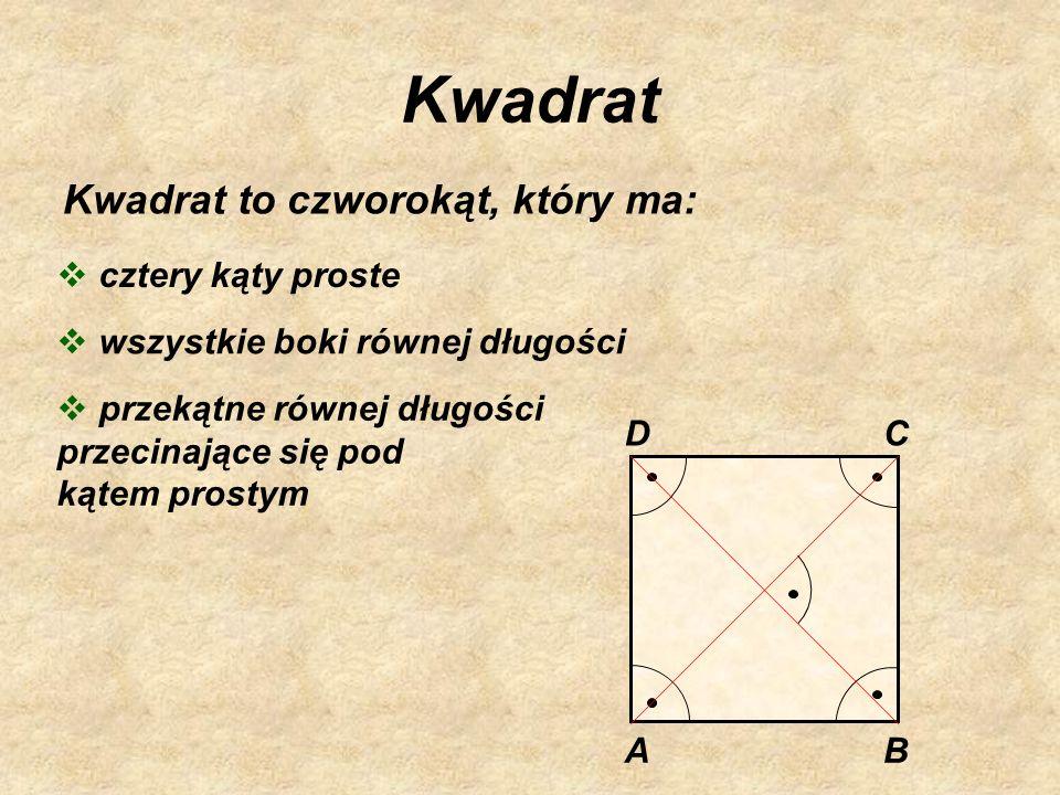 Kwadrat Kwadrat to czworokąt, który ma: cztery kąty proste