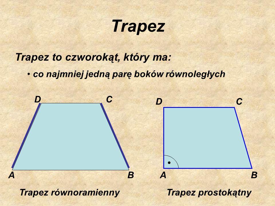 Trapez Trapez to czworokąt, który ma: