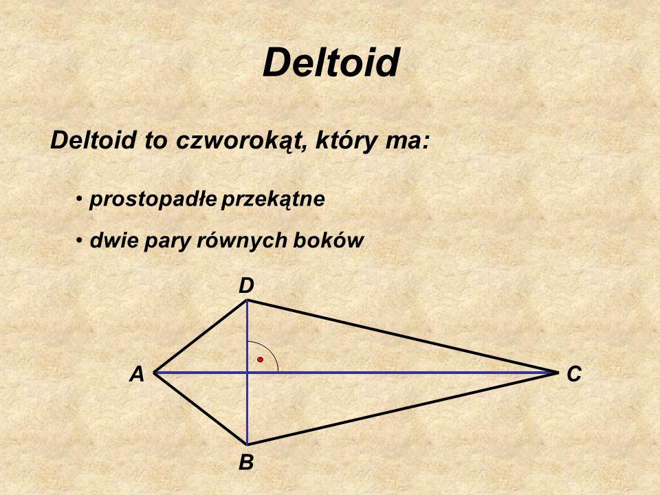 Deltoid Deltoid to czworokąt, który ma: prostopadłe przekątne