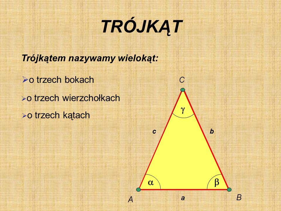 TRÓJKĄT Trójkątem nazywamy wielokąt: o trzech bokach g a b C B A