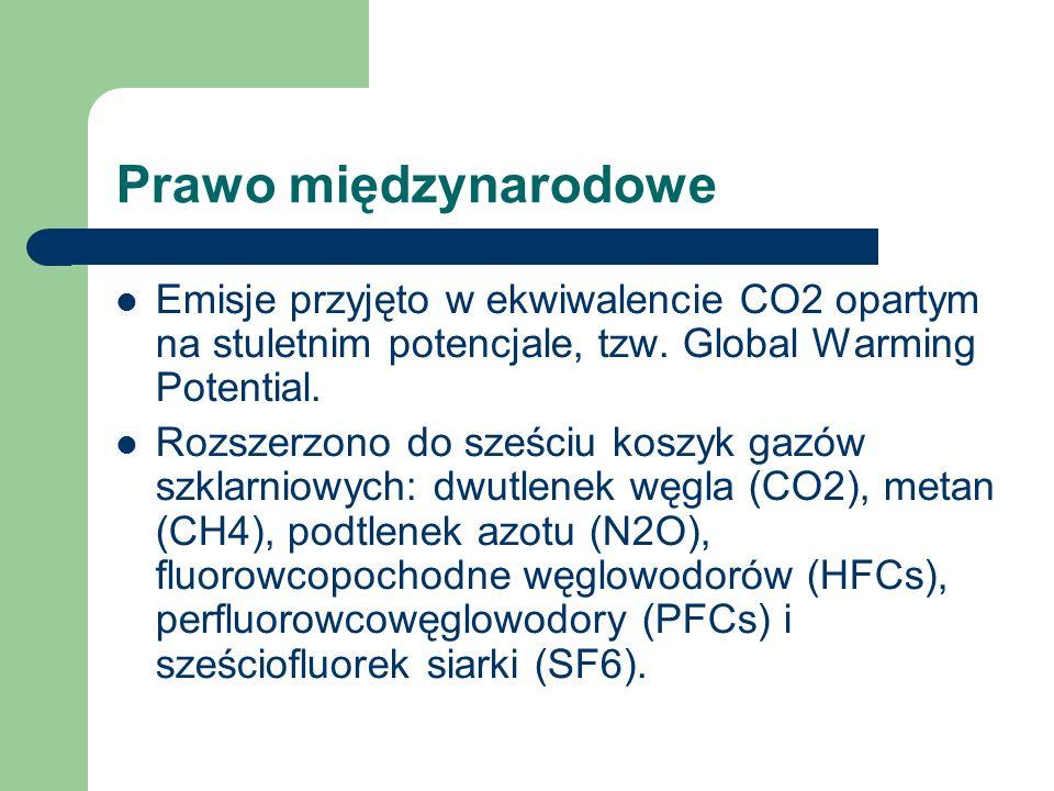 Prawo międzynarodoweEmisje przyjęto w ekwiwalencie CO2 opartym na stuletnim potencjale, tzw. Global Warming Potential.