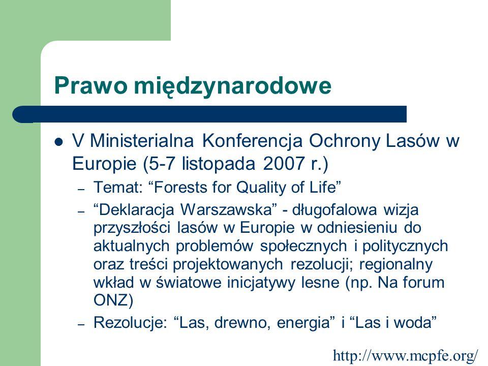 Prawo międzynarodowe V Ministerialna Konferencja Ochrony Lasów w Europie (5-7 listopada 2007 r.) Temat: Forests for Quality of Life