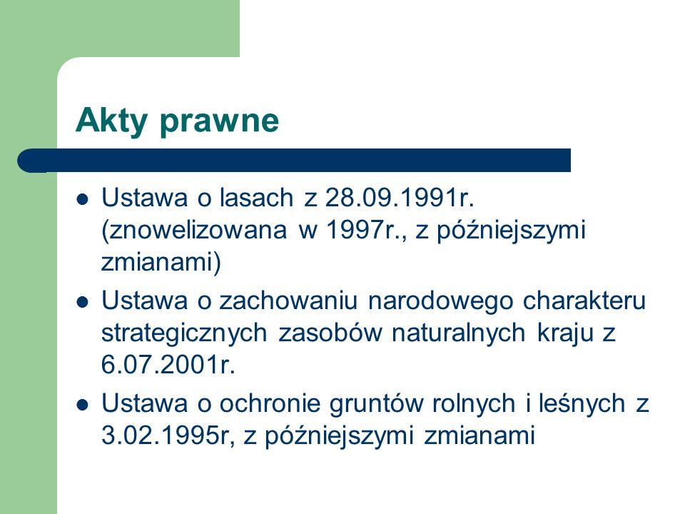 Akty prawne Ustawa o lasach z 28.09.1991r. (znowelizowana w 1997r., z późniejszymi zmianami)