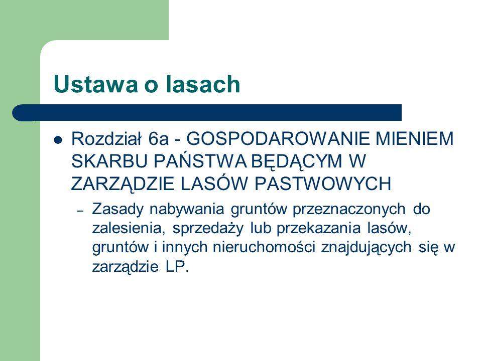 Ustawa o lasachRozdział 6a - GOSPODAROWANIE MIENIEM SKARBU PAŃSTWA BĘDĄCYM W ZARZĄDZIE LASÓW PASTWOWYCH.