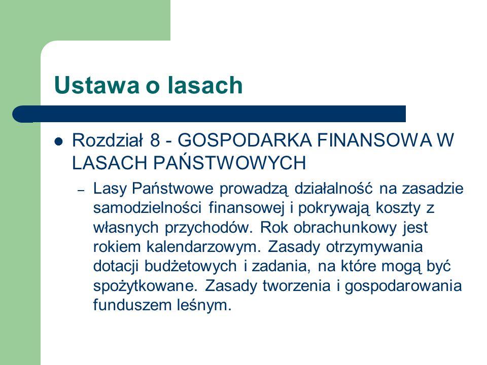 Ustawa o lasach Rozdział 8 - GOSPODARKA FINANSOWA W LASACH PAŃSTWOWYCH