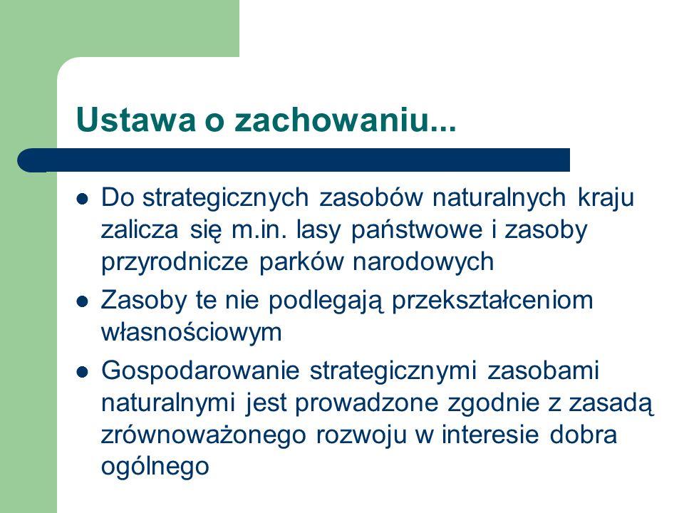 Ustawa o zachowaniu... Do strategicznych zasobów naturalnych kraju zalicza się m.in. lasy państwowe i zasoby przyrodnicze parków narodowych.