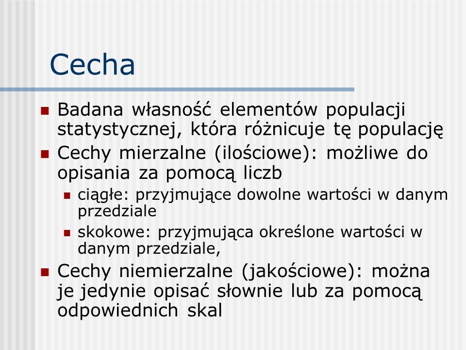CechaBadana własność elementów populacji statystycznej, która różnicuje tę populację.
