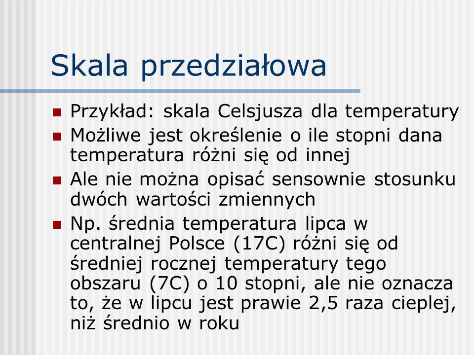 Skala przedziałowa Przykład: skala Celsjusza dla temperatury
