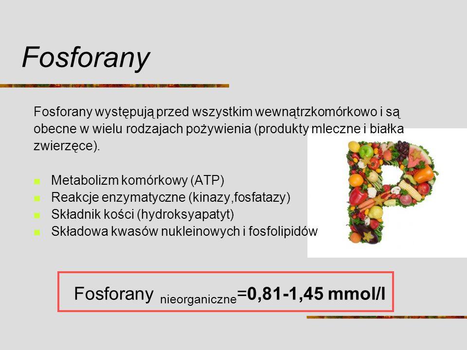 Fosforany nieorganiczne=0,81-1,45 mmol/l
