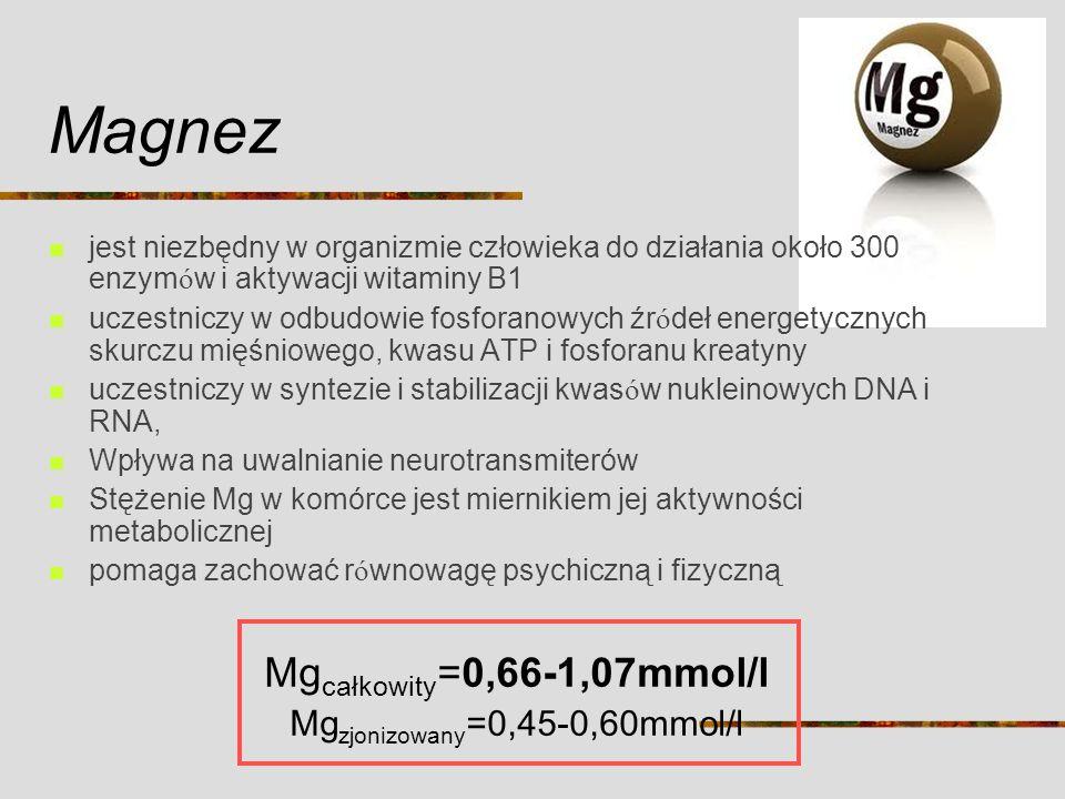Mgzjonizowany=0,45-0,60mmol/l
