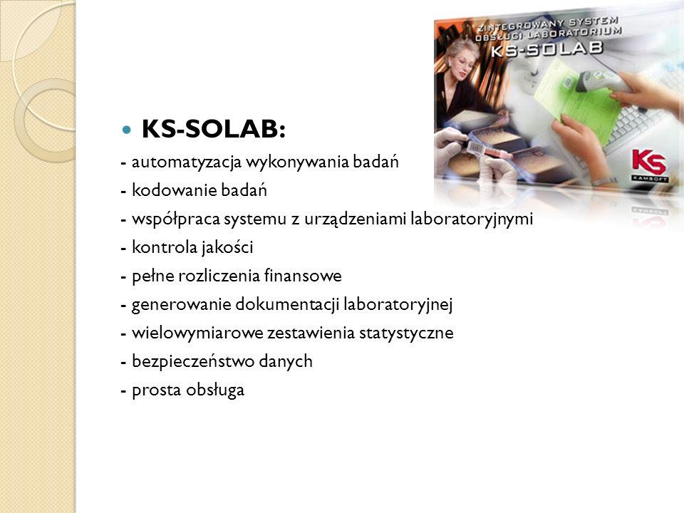 KS-SOLAB: - automatyzacja wykonywania badań - kodowanie badań