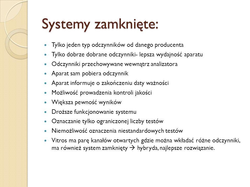 Systemy zamknięte: Tylko jeden typ odczynników od danego producenta