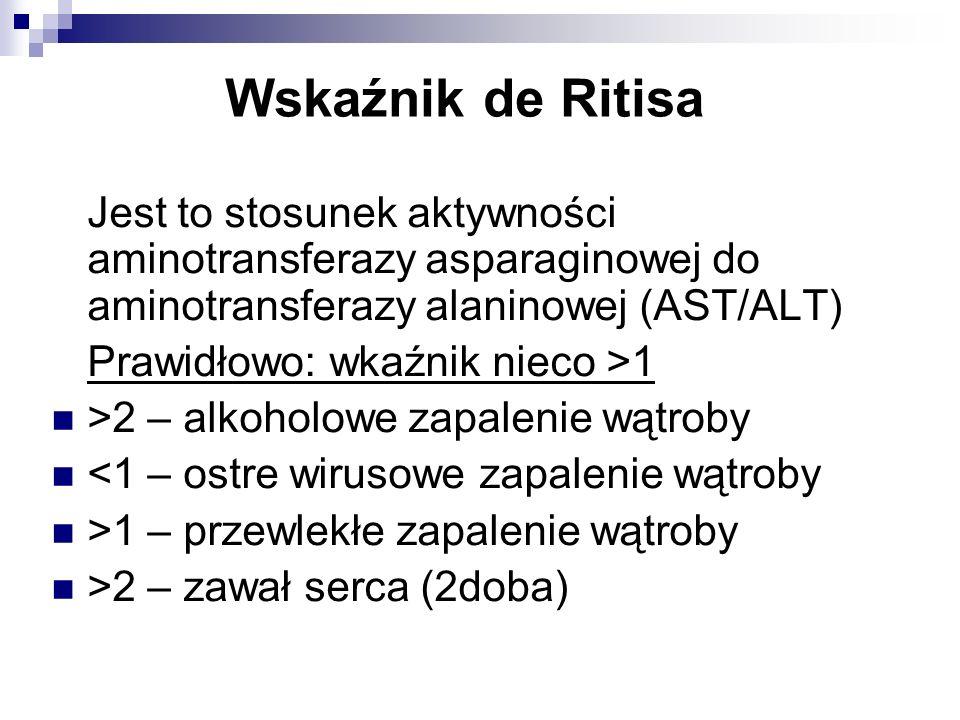 Wskaźnik de RitisaJest to stosunek aktywności aminotransferazy asparaginowej do aminotransferazy alaninowej (AST/ALT)