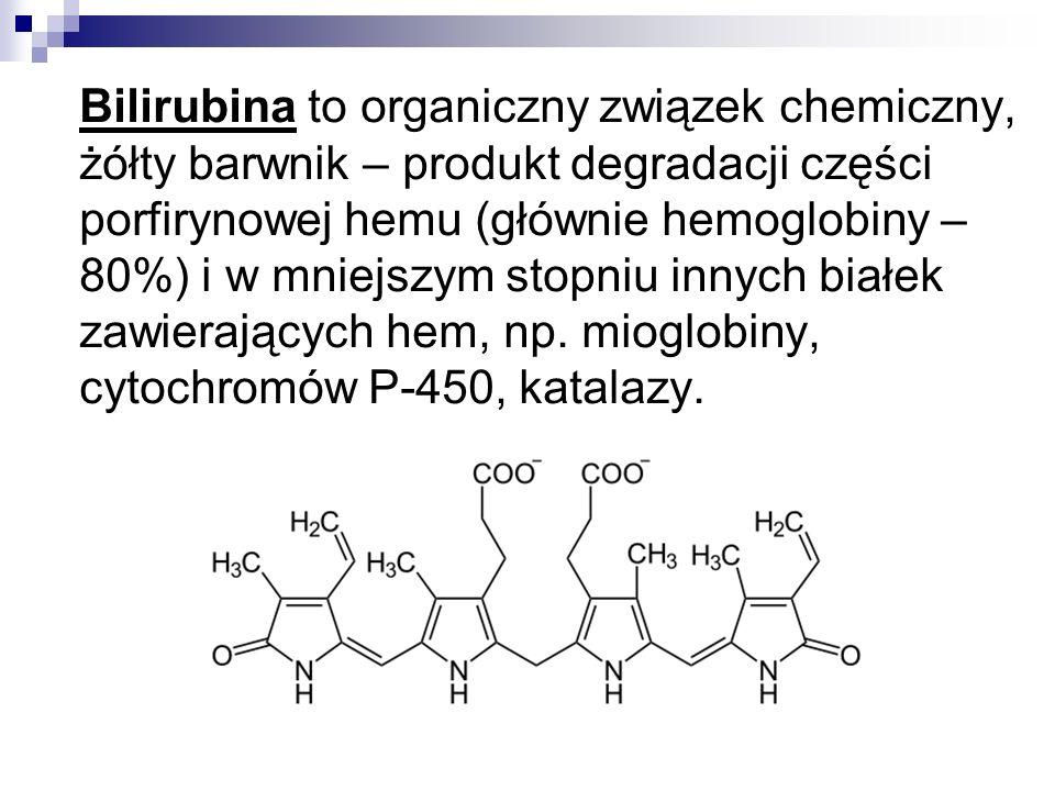 Bilirubina to organiczny związek chemiczny, żółty barwnik – produkt degradacji części porfirynowej hemu (głównie hemoglobiny – 80%) i w mniejszym stopniu innych białek zawierających hem, np.
