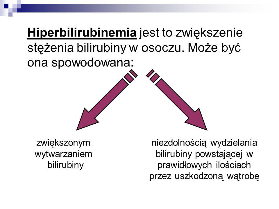Hiperbilirubinemia jest to zwiększenie stężenia bilirubiny w osoczu