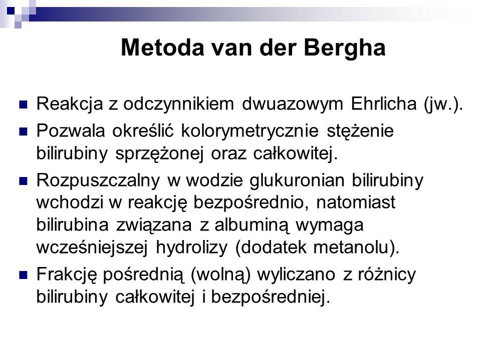 Metoda van der Bergha Reakcja z odczynnikiem dwuazowym Ehrlicha (jw.).