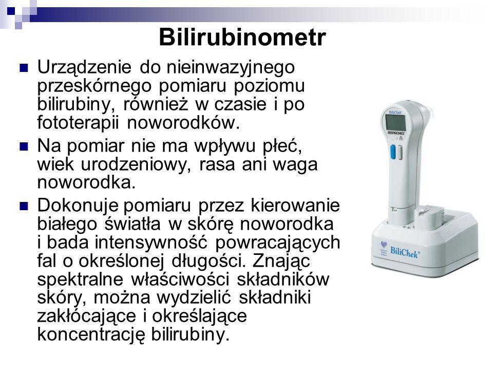 BilirubinometrUrządzenie do nieinwazyjnego przeskórnego pomiaru poziomu bilirubiny, również w czasie i po fototerapii noworodków.