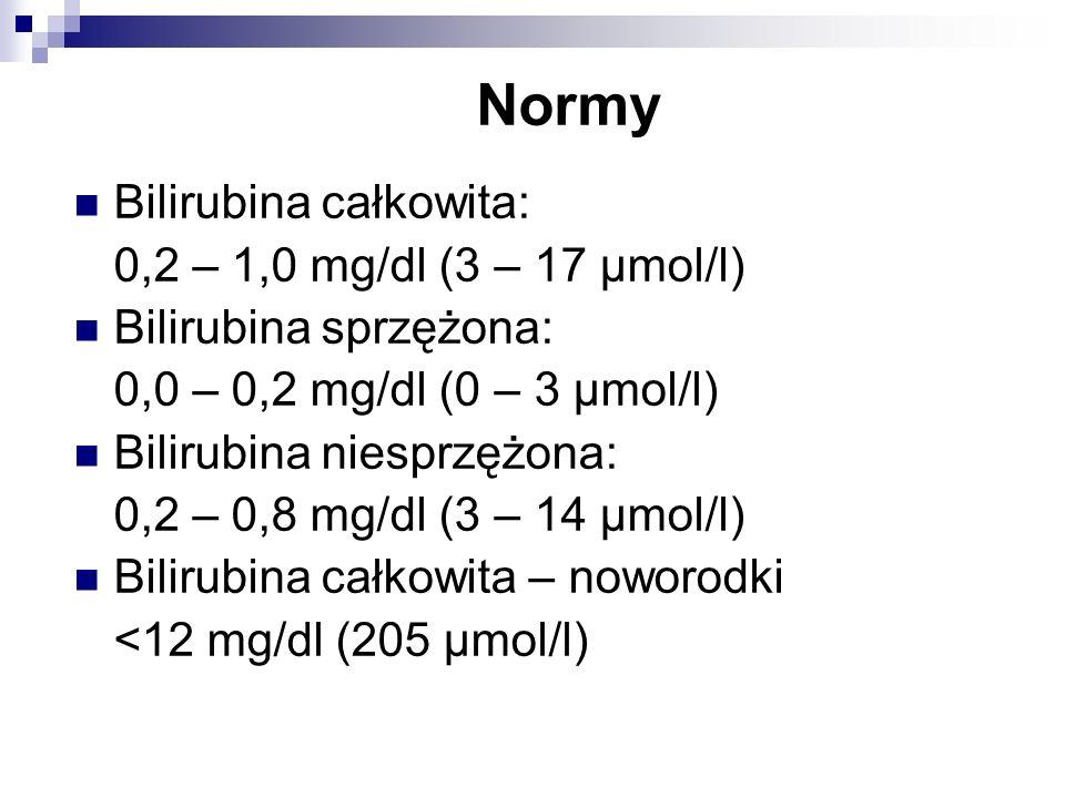Normy Bilirubina całkowita: 0,2 – 1,0 mg/dl (3 – 17 μmol/l)