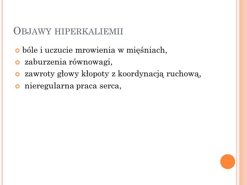 Objawy hiperkaliemii bóle i uczucie mrowienia w mięśniach,