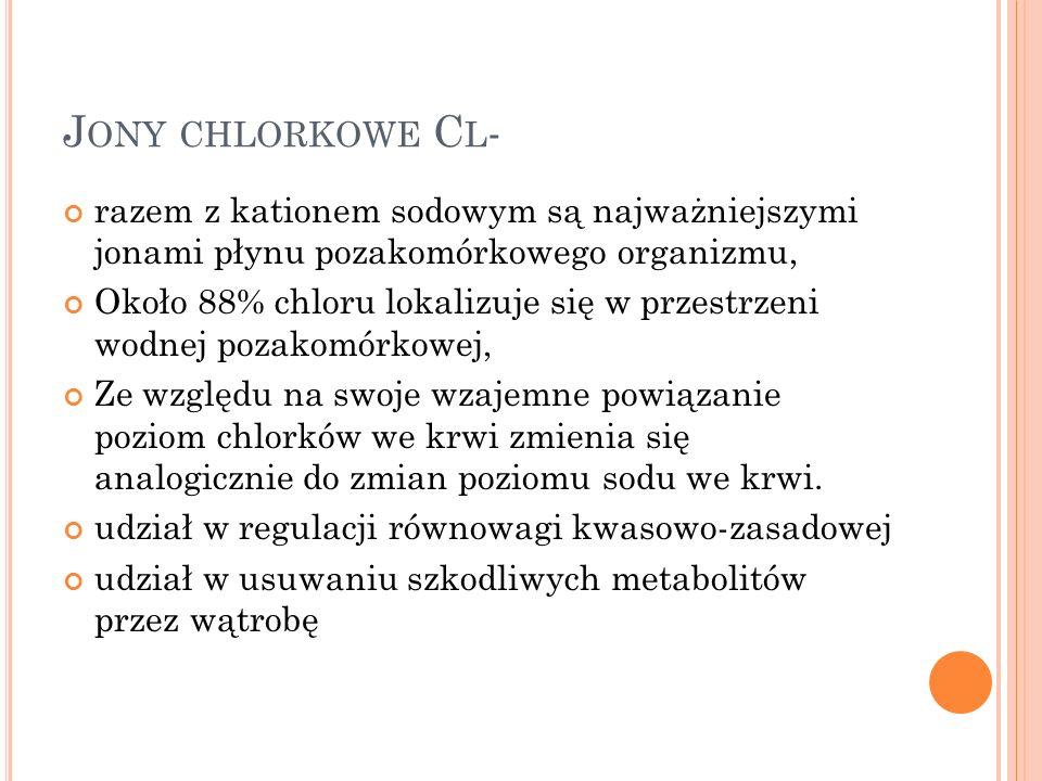 Jony chlorkowe Cl- razem z kationem sodowym są najważniejszymi jonami płynu pozakomórkowego organizmu,