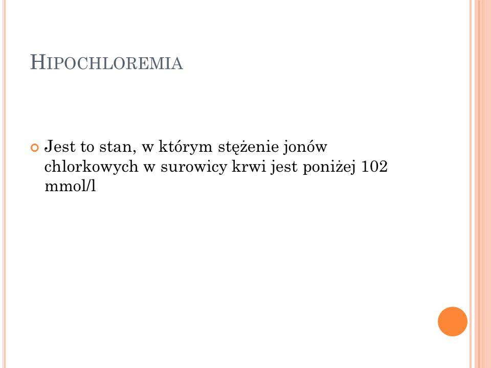 Hipochloremia Jest to stan, w którym stężenie jonów chlorkowych w surowicy krwi jest poniżej 102 mmol/l.