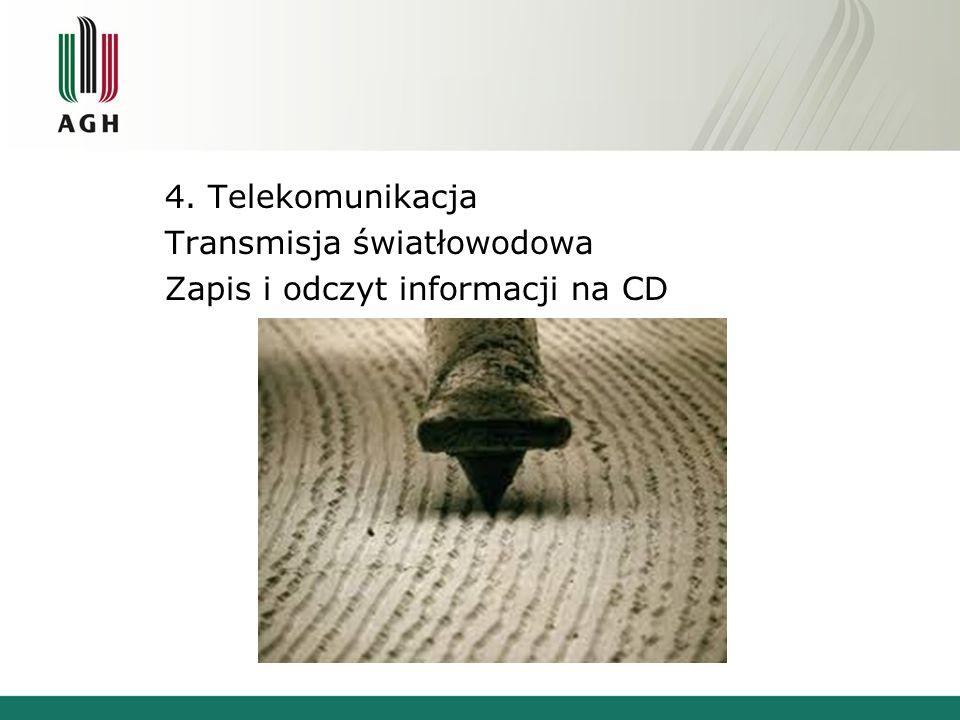 4. Telekomunikacja Transmisja światłowodowa Zapis i odczyt informacji na CD