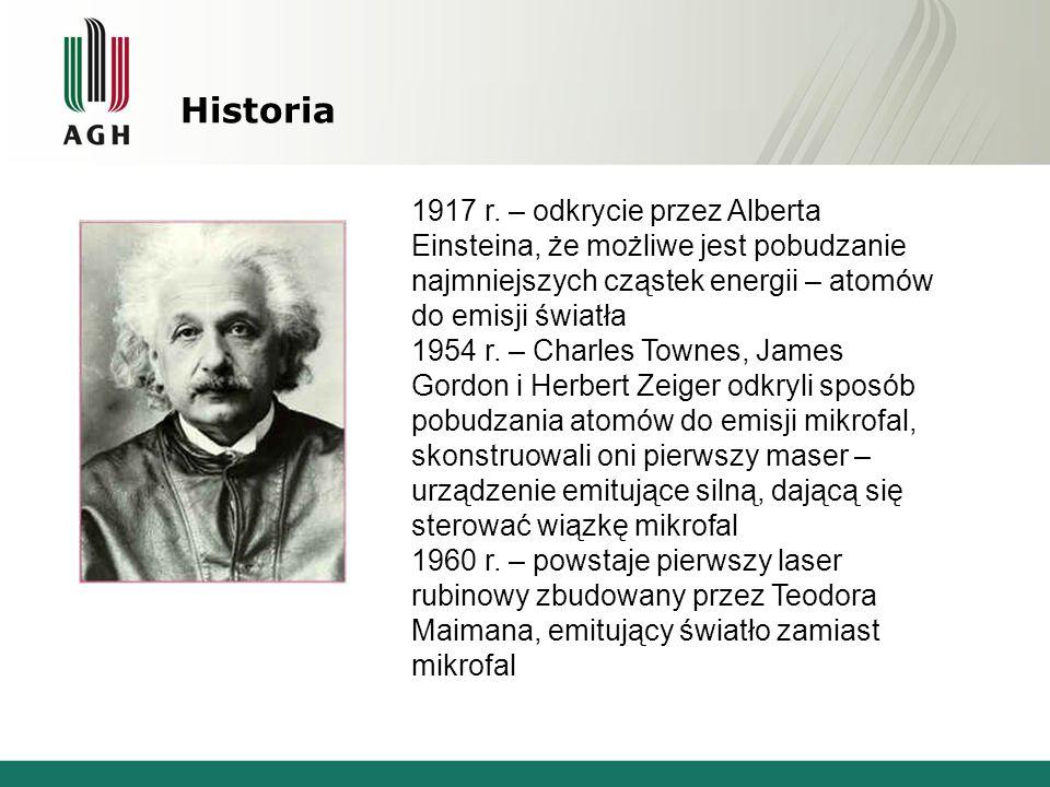 Historia 1917 r. – odkrycie przez Alberta Einsteina, że możliwe jest pobudzanie najmniejszych cząstek energii – atomów do emisji światła.