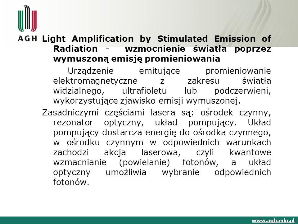 Light Amplification by Stimulated Emission of Radiation - wzmocnienie światła poprzez wymuszoną emisję promieniowania