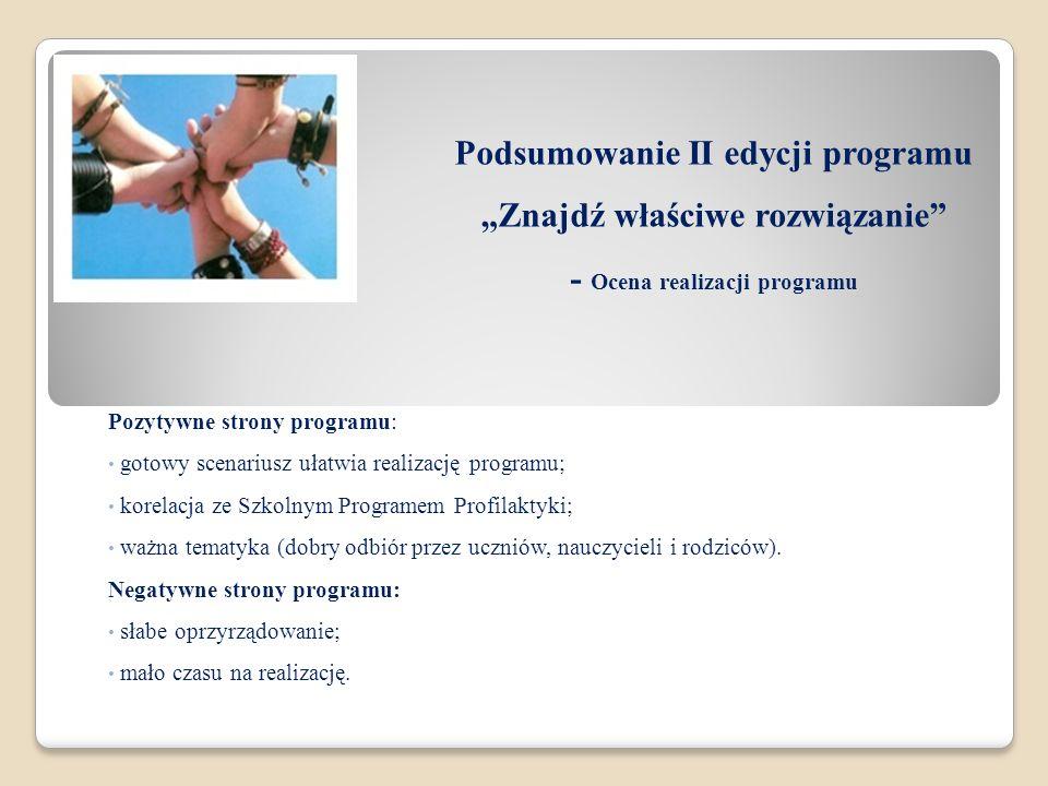"""Podsumowanie II edycji programu """"Znajdź właściwe rozwiązanie - Ocena realizacji programu"""