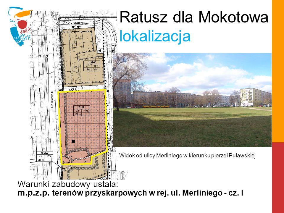 Ratusz dla Mokotowa lokalizacja teren inwestycyjny Widok od ulicy Merliniego w kierunku pierzei Puławskiej
