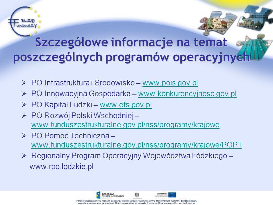 Szczegółowe informacje na temat poszczególnych programów operacyjnych