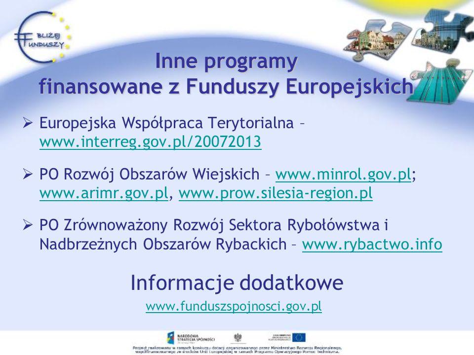 Inne programy finansowane z Funduszy Europejskich
