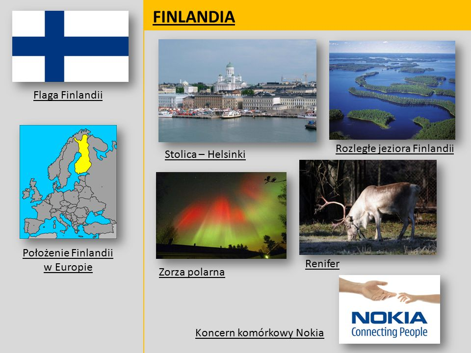 FINLANDIA Flaga Finlandii Rozległe jeziora Finlandii
