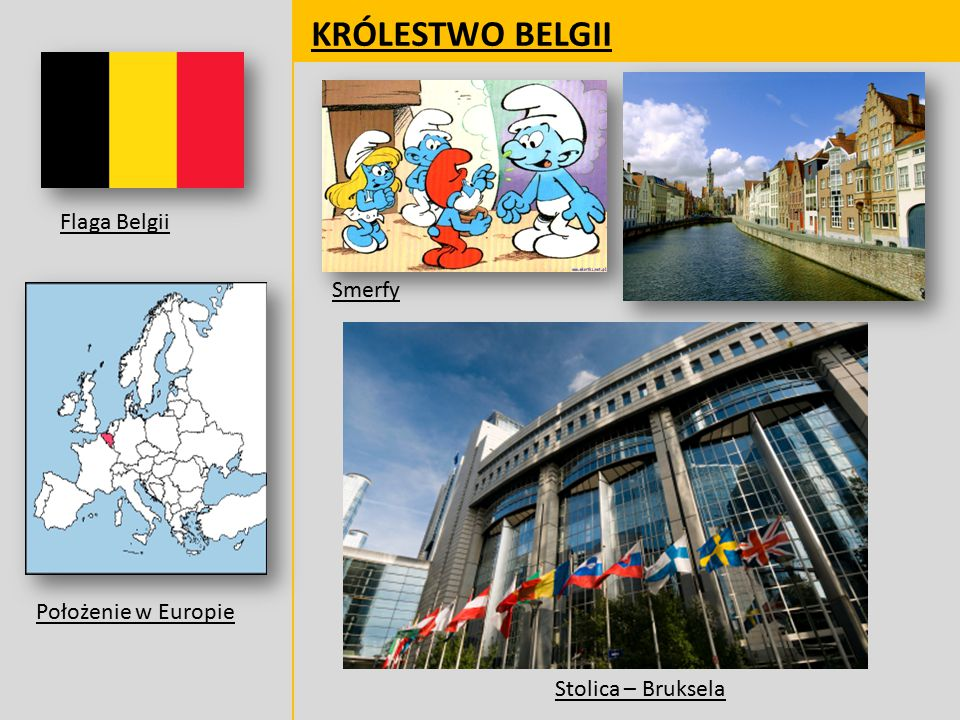 KRÓLESTWO BELGII Flaga Belgii Smerfy Położenie w Europie