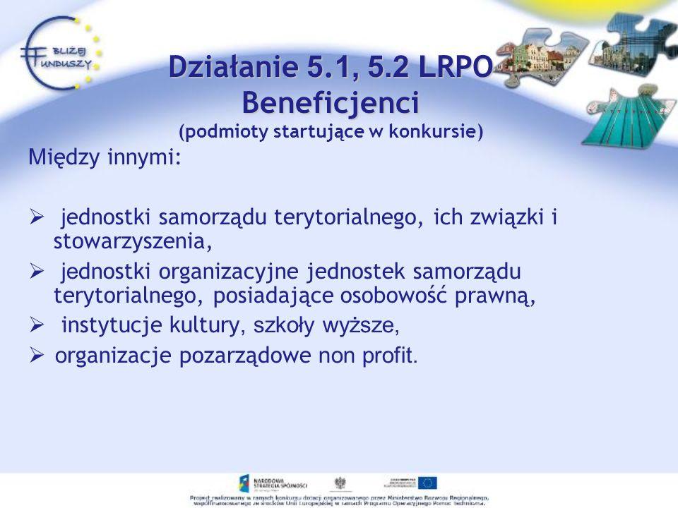 Działanie 5.1, 5.2 LRPO Beneficjenci (podmioty startujące w konkursie)