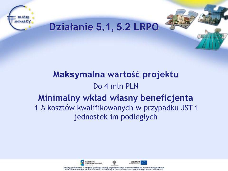 Maksymalna wartość projektu Minimalny wkład własny beneficjenta