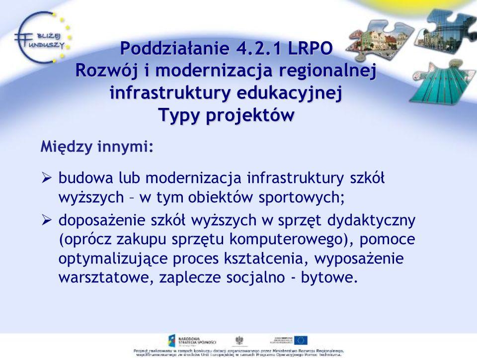 Poddziałanie 4.2.1 LRPO Rozwój i modernizacja regionalnej infrastruktury edukacyjnej Typy projektów