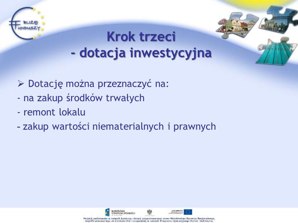 Krok trzeci - dotacja inwestycyjna