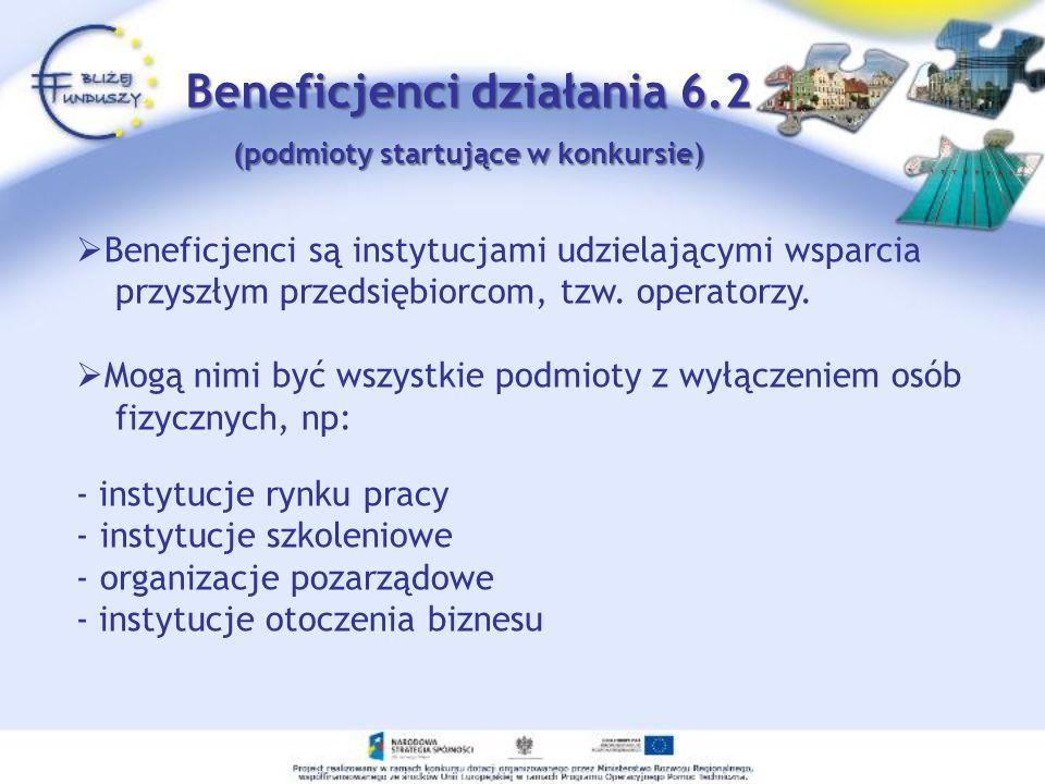 Beneficjenci działania 6.2 (podmioty startujące w konkursie)