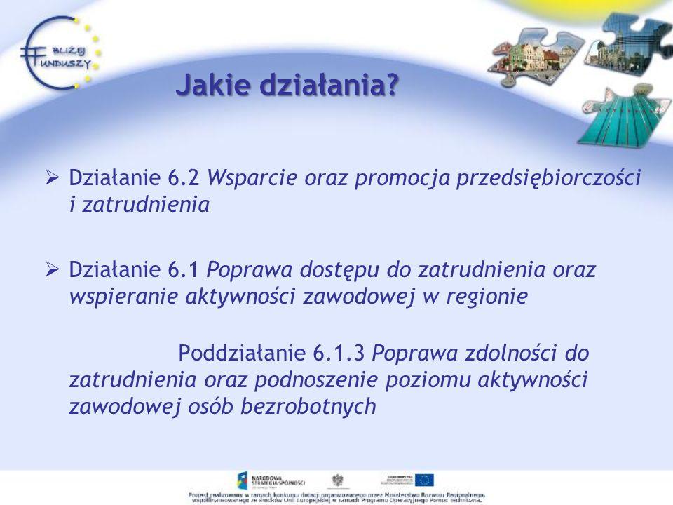 Jakie działania Działanie 6.2 Wsparcie oraz promocja przedsiębiorczości i zatrudnienia.