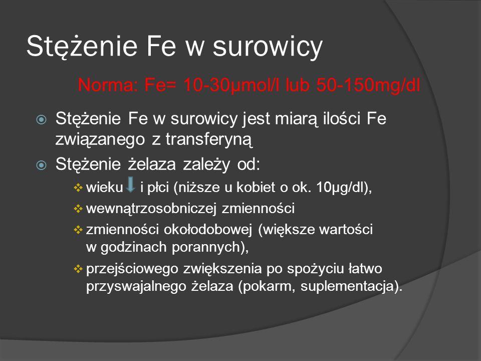 Norma: Fe= 10-30µmol/l lub 50-150mg/dl