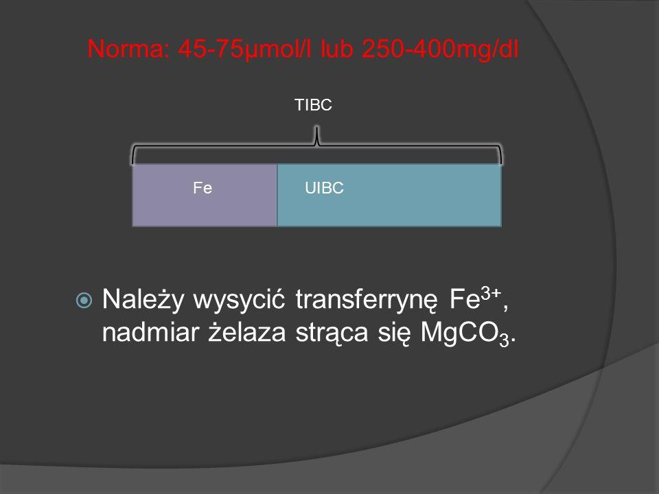 Należy wysycić transferrynę Fe3+, nadmiar żelaza strąca się MgCO3.