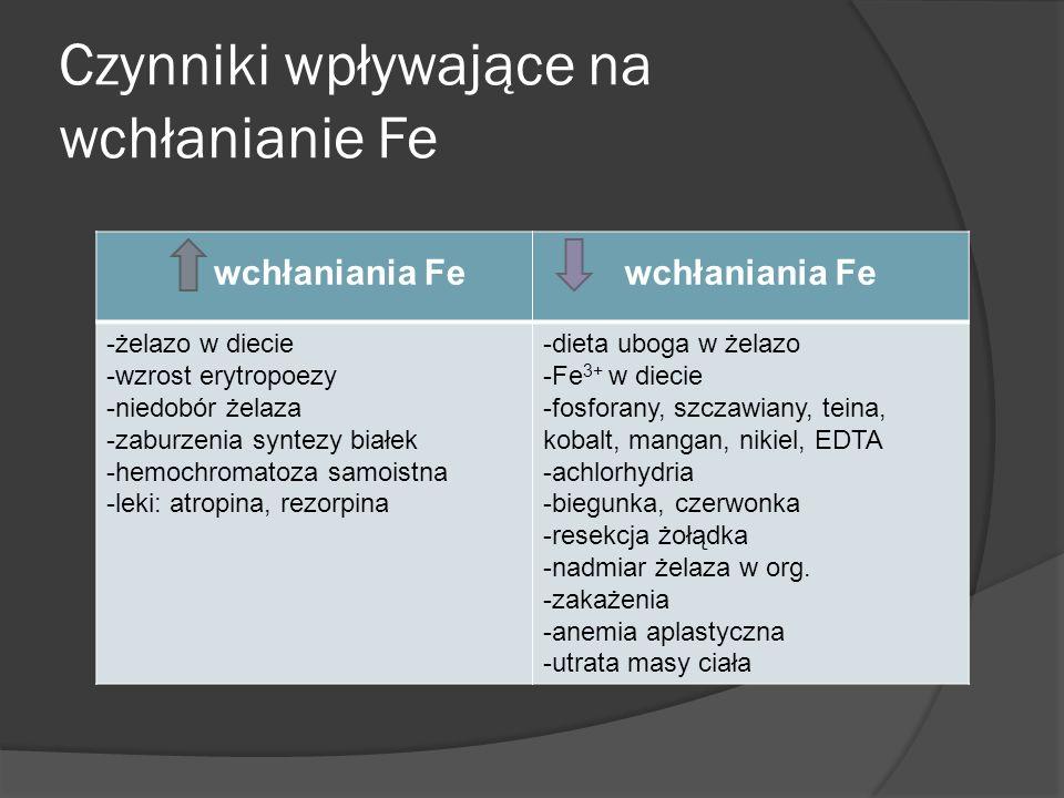 Czynniki wpływające na wchłanianie Fe