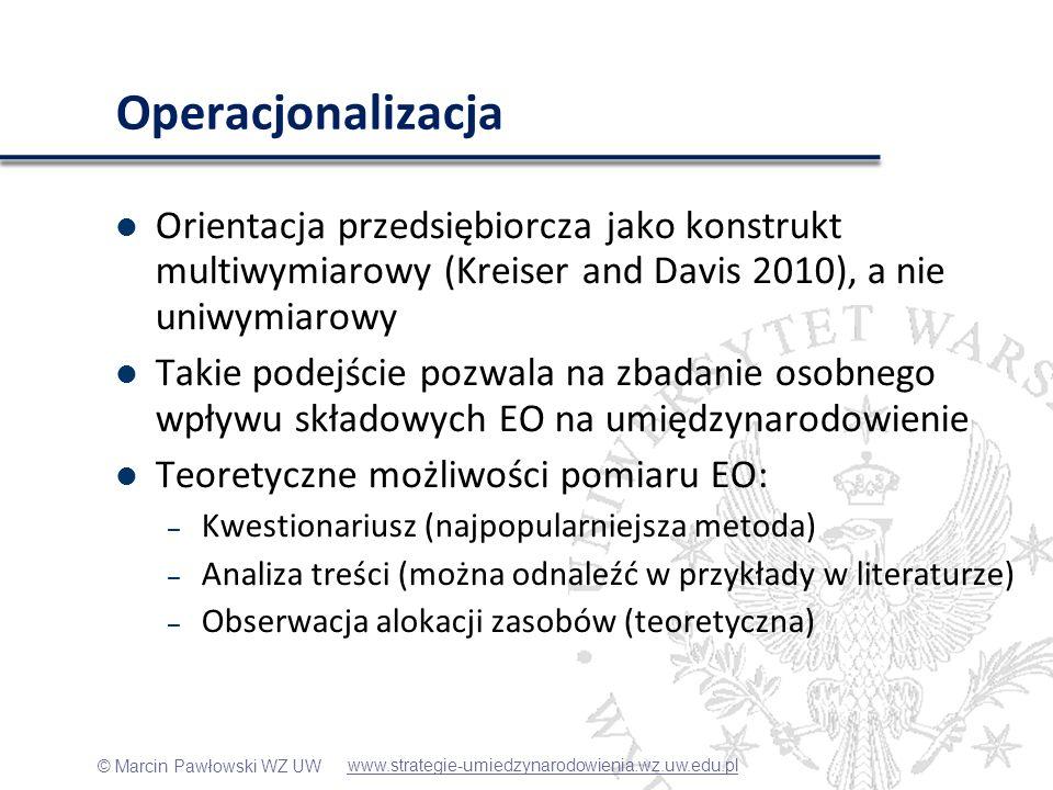 Kreiser and Davis (2010)Operacjonalizacja. Orientacja przedsiębiorcza jako konstrukt multiwymiarowy (Kreiser and Davis 2010), a nie uniwymiarowy.