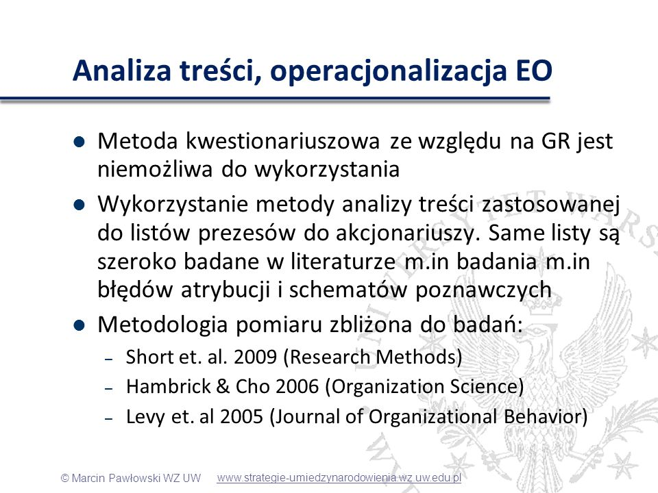 Analiza treści, operacjonalizacja EO